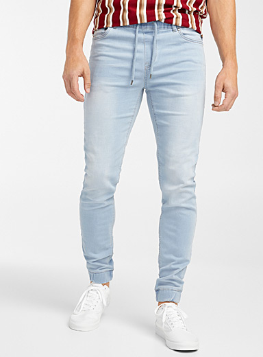 Djab Baby Blue Faded denim joggers  Skinny fit for men