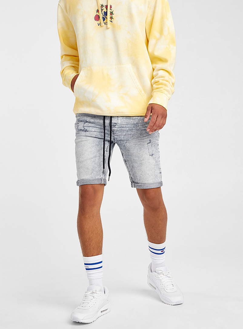Djab Baby Blue Distressed pull-on short for men
