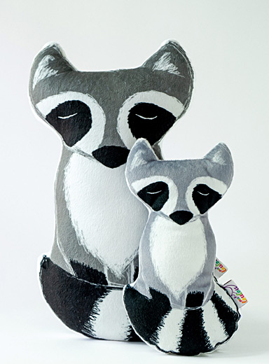 Milo the raccoon cushion  Available in 2 sizes