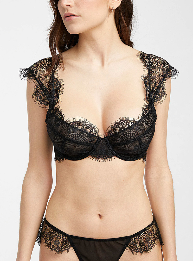 Bluebella Black Marina plunge bra for women