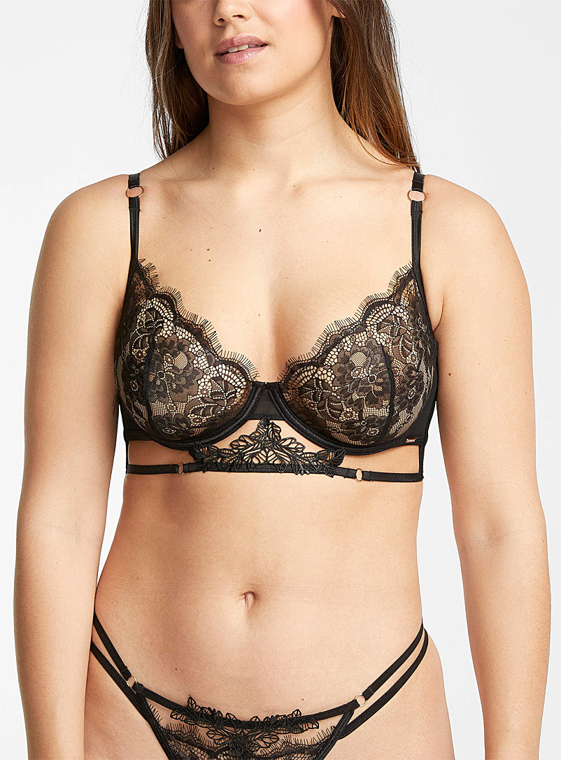 Bluebella Black Lumi balconette bra for women