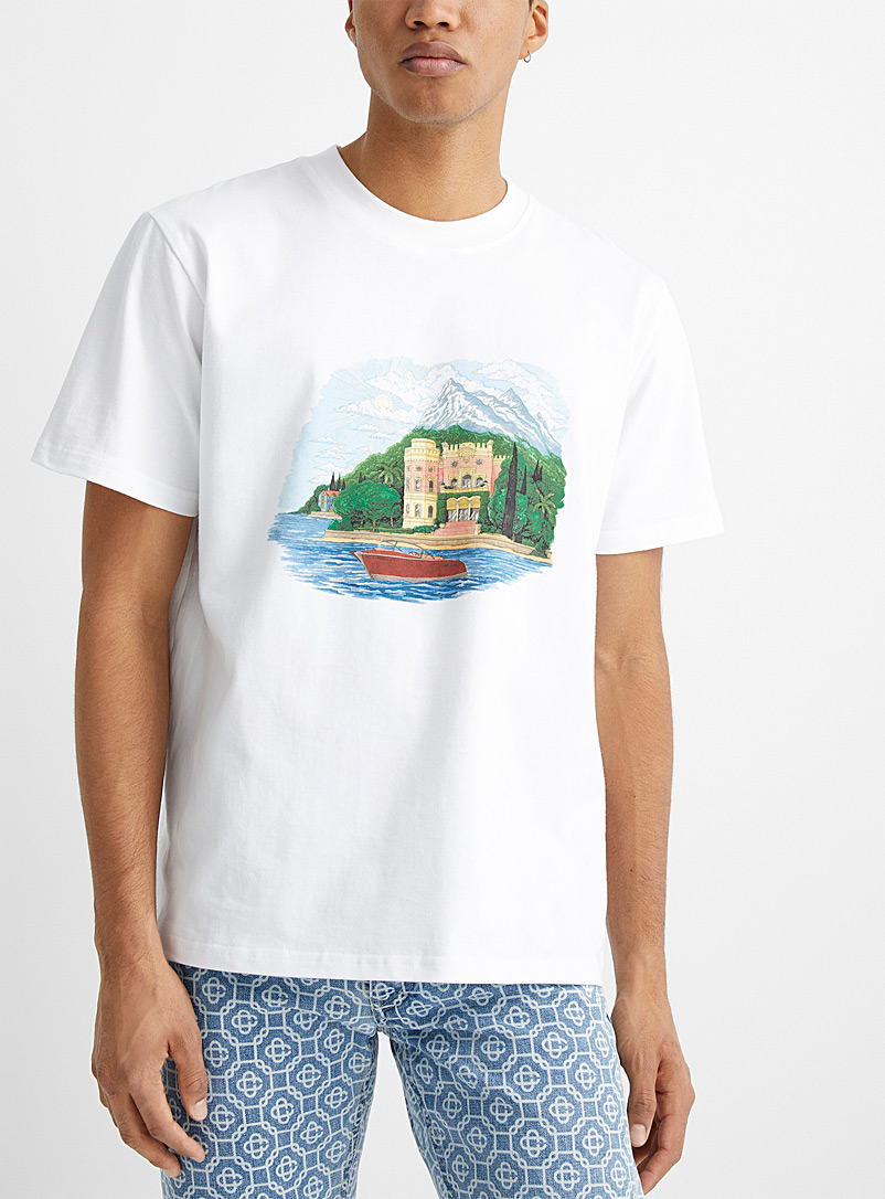 Casablanca White Lake view T-shirt for men