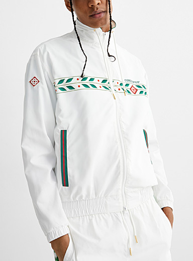 Sporty techno-fabric track jacket