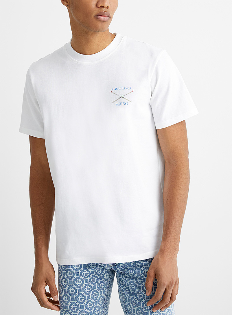 Casablanca White Skiing T-shirt for men