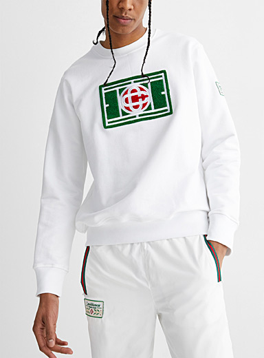 Chenille embroidered tennis sweatshirt