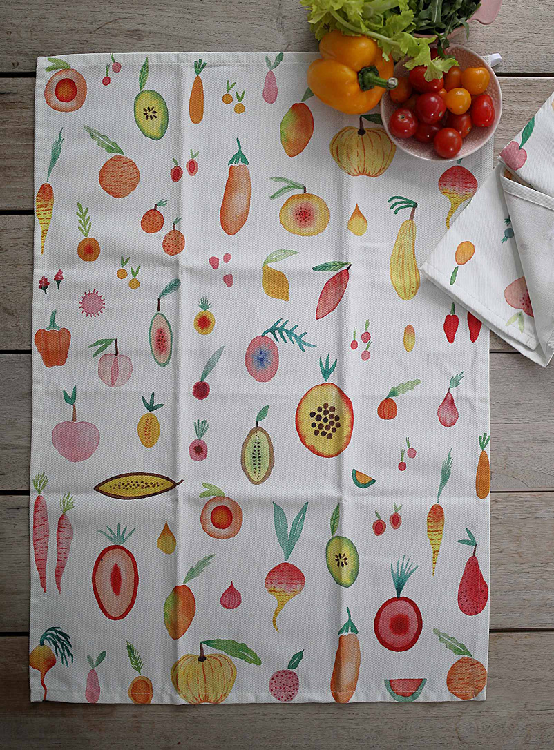 Maison Lorrain Assorted Vegetable garden tea towel