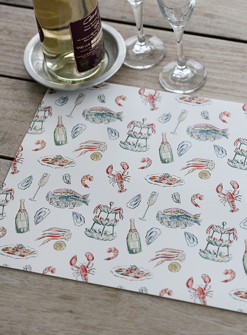 Maison Lorrain Assorted Seafood and champagne vinyl placemat
