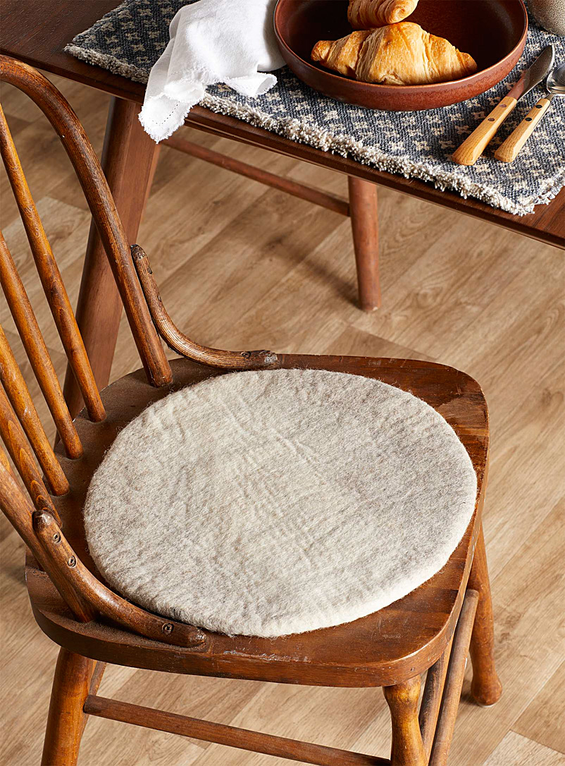 Simons Maison Light Brown Felt wool fair trade chairpad  35 cm round