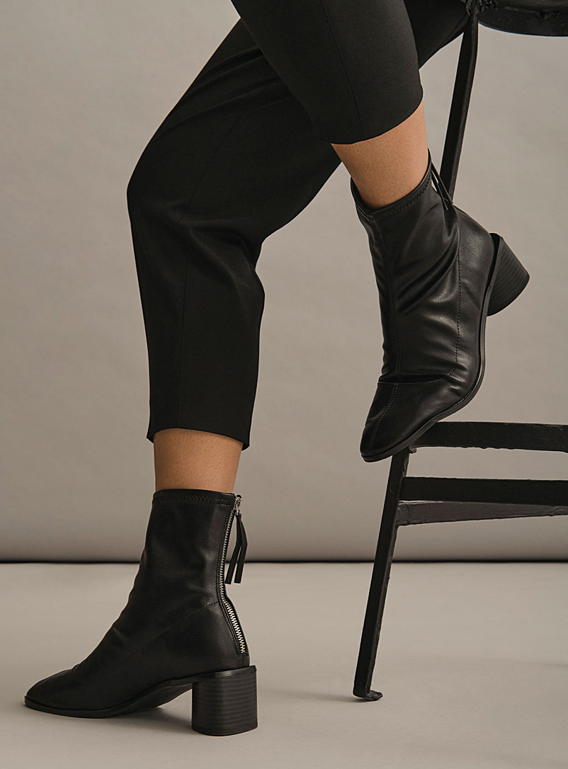 Simons Black Triangular heel faux-leather boots for women