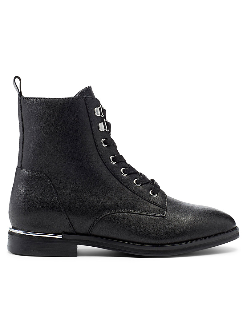Simons Black Metallic accent lace-up boots for women