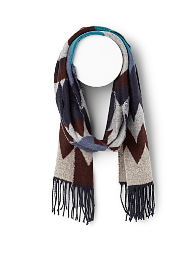 Le 31 Assorted Large zigzag scarf for men