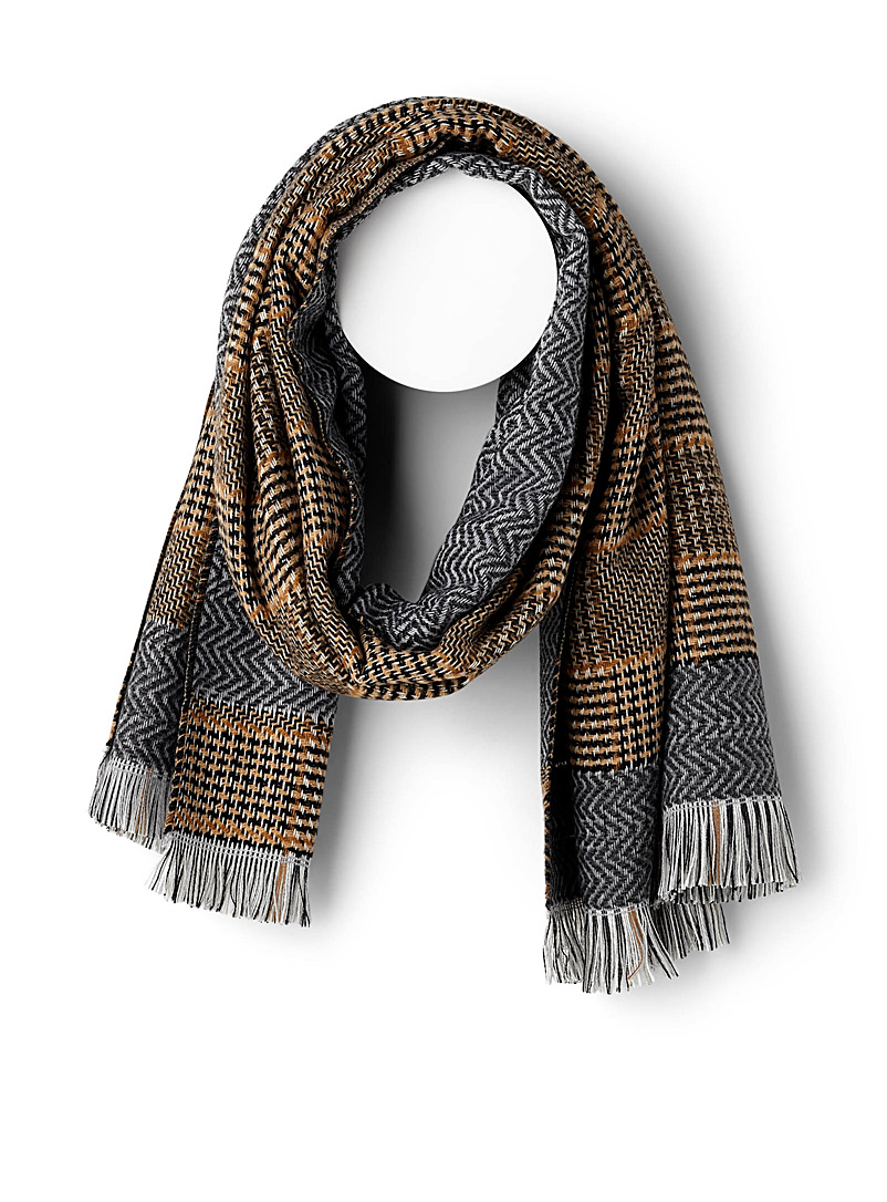 Caramel check scarf - Winter Scarves - Patterned Brown