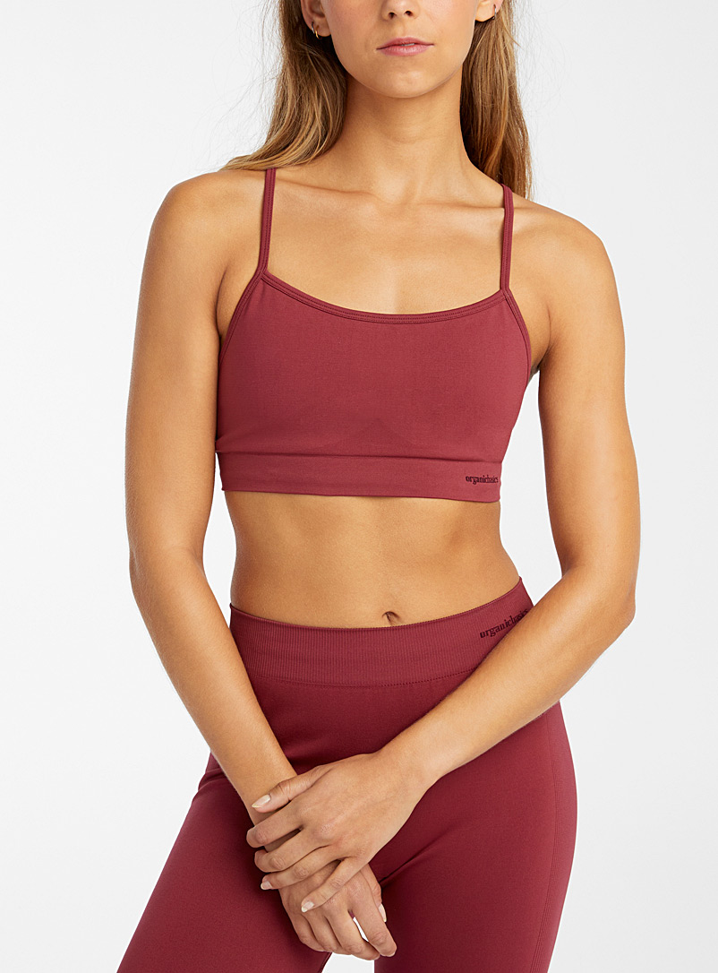 Organic Basics Red Recycled nylon athletic bralette for women