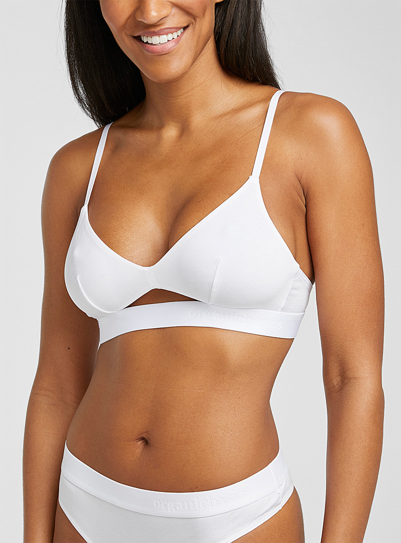 Organic Basics White Lyocell elastic band bralette for women