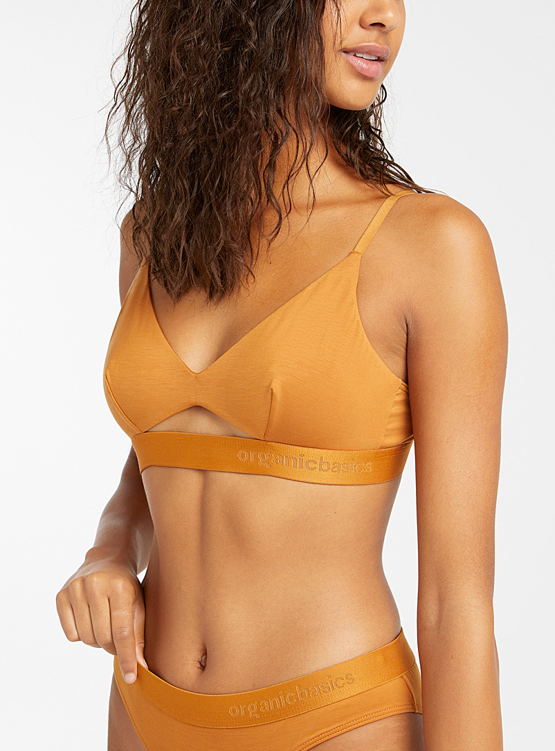 Organic Basics Golden Yellow Lyocell elastic band bralette for women