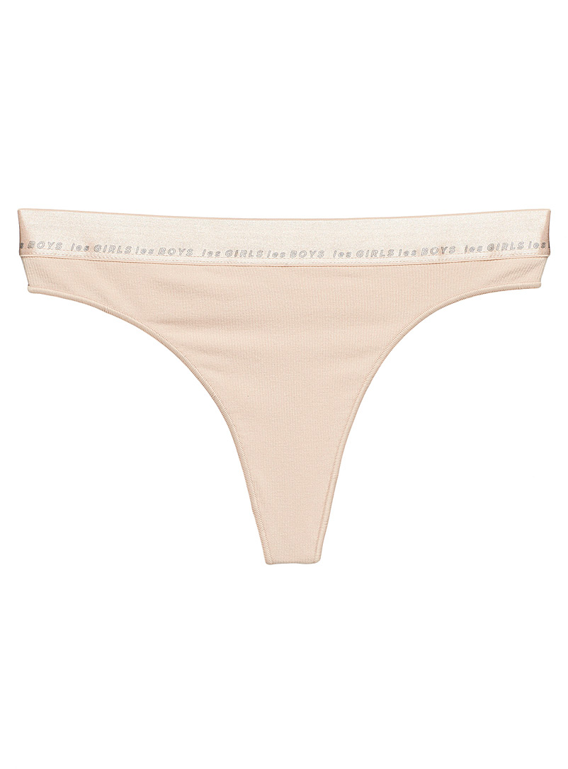 Les girls les boys Tan Ultra-soft ribbed thong for women