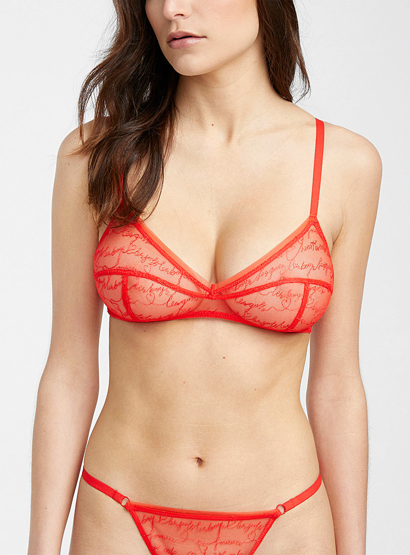 Les girls les boys Red Love Note bralette for women