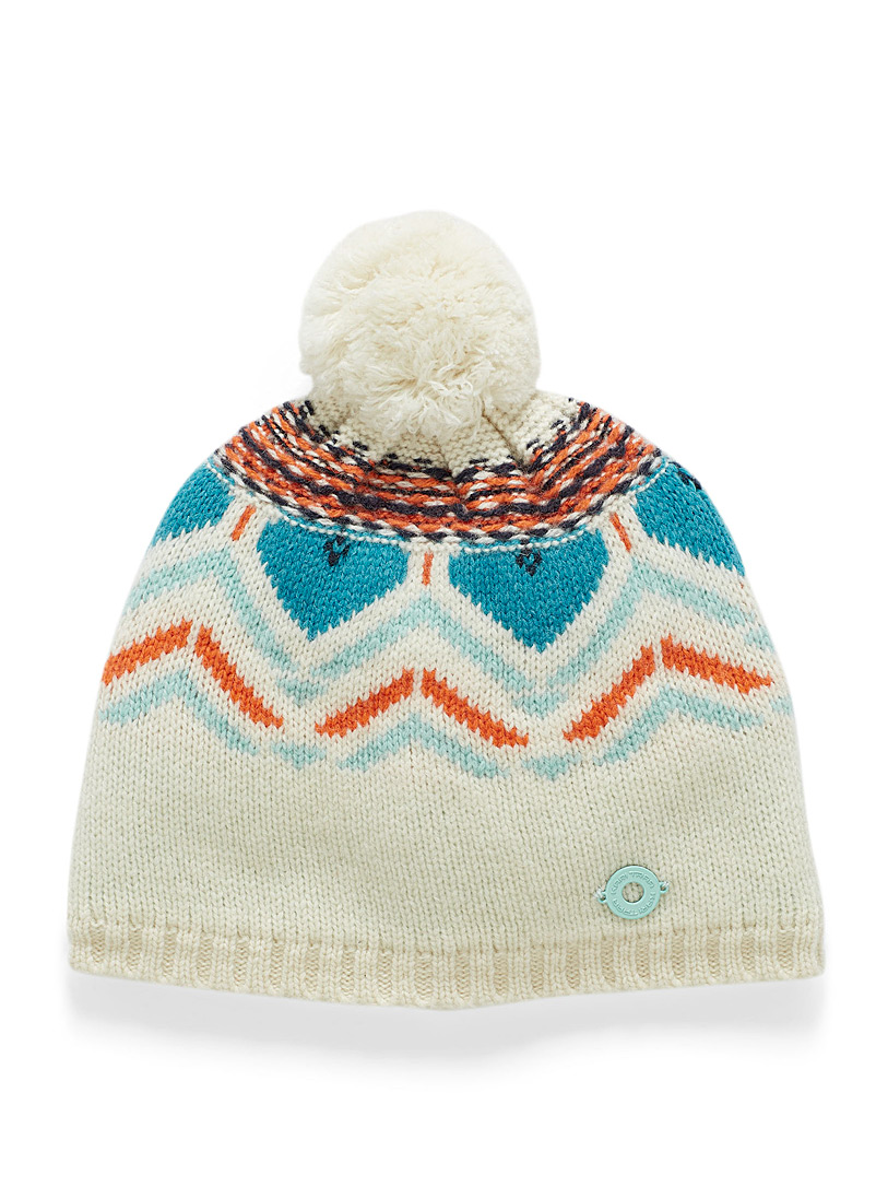 Kari Traa Ivory White Sundve Norwegian jacquard tuque for women