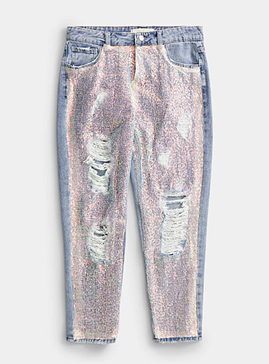 Icône Blue Iridescent sequined distressed jean for women