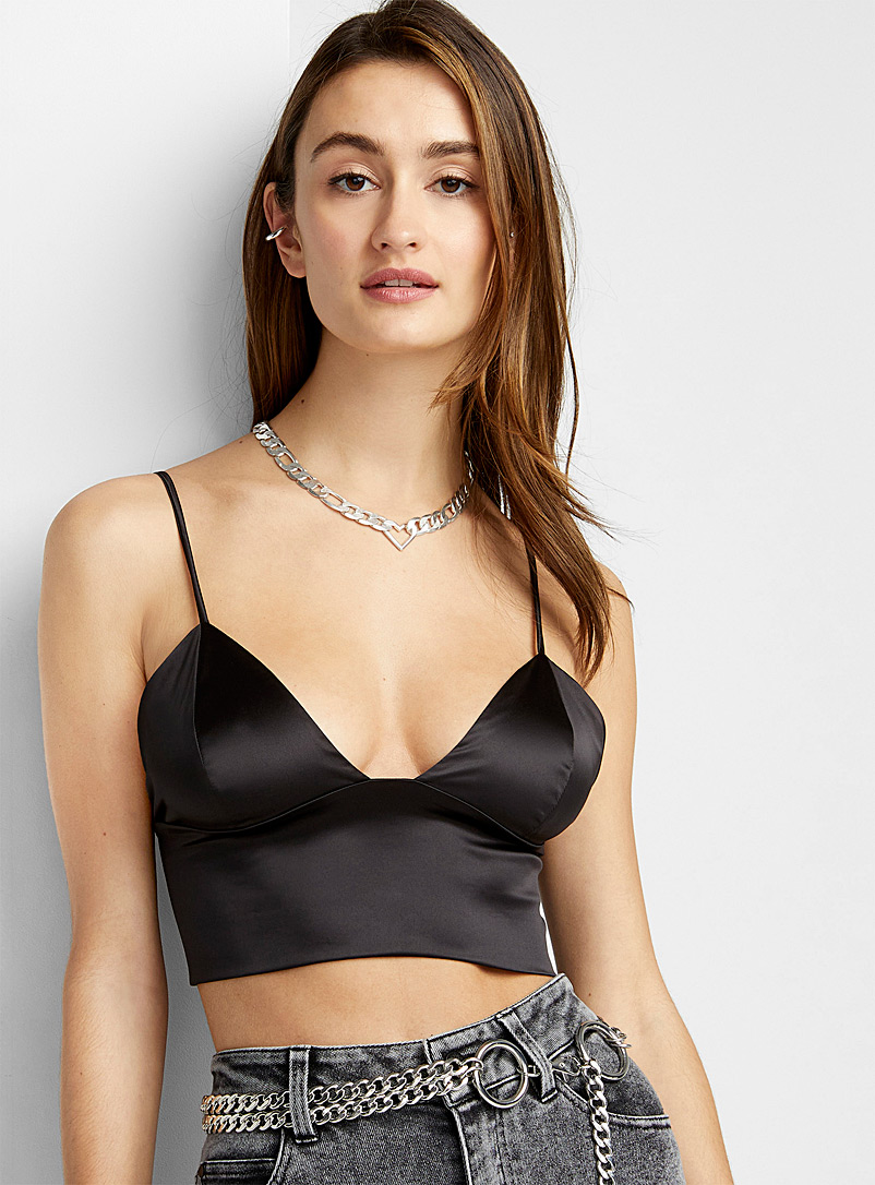 Ic?ne Black Thin strap satiny top for women