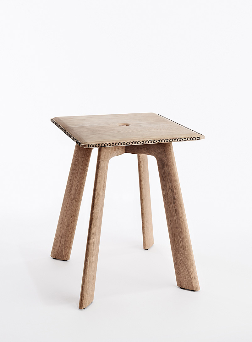Heri Furniture Oak Tufted seat stool