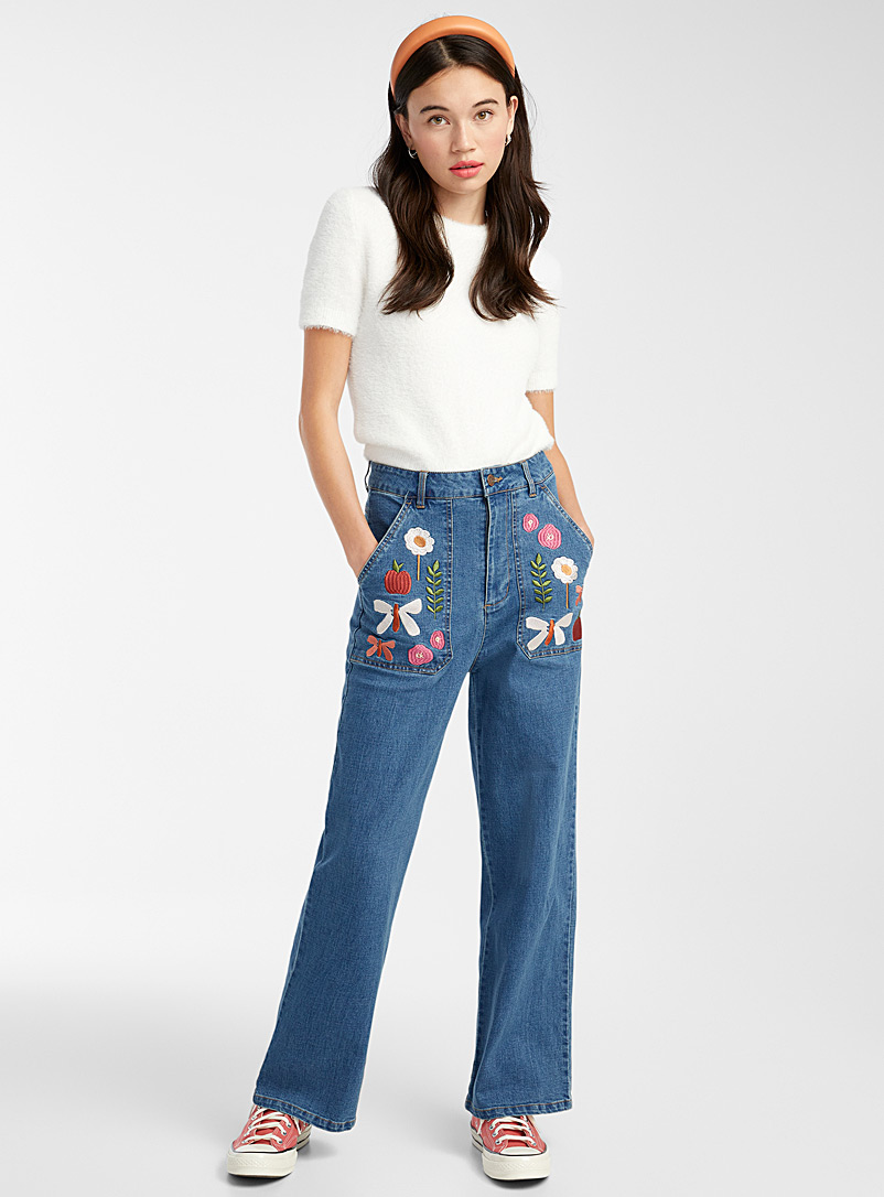 Princess Highway Slate Blue Floral embroidery carpenter jean for women