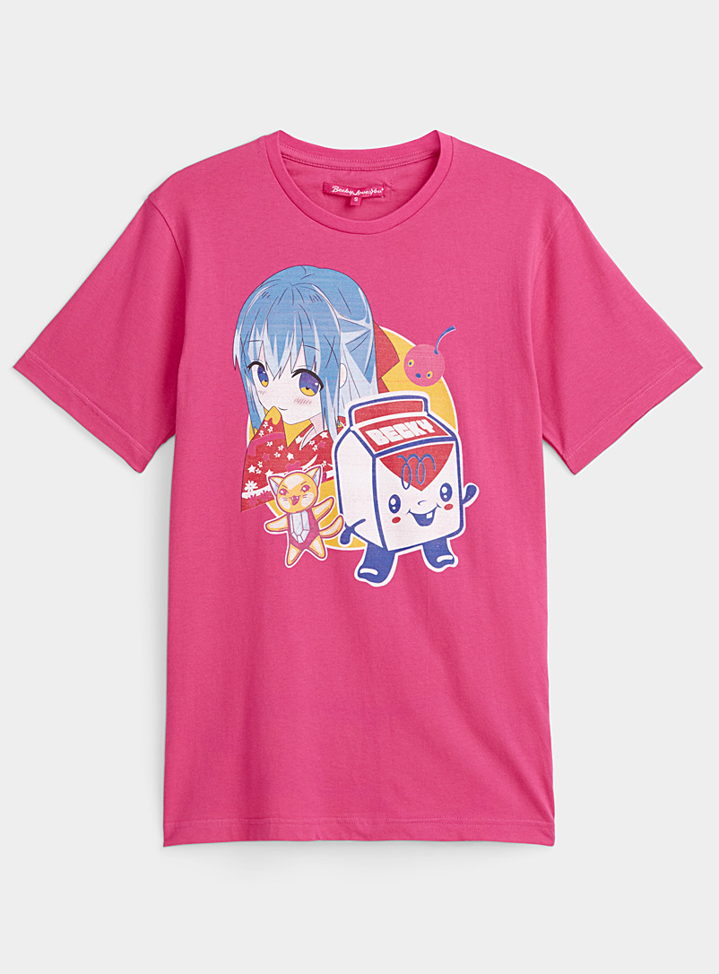 Becky Loves You Pink Manga print tee for women