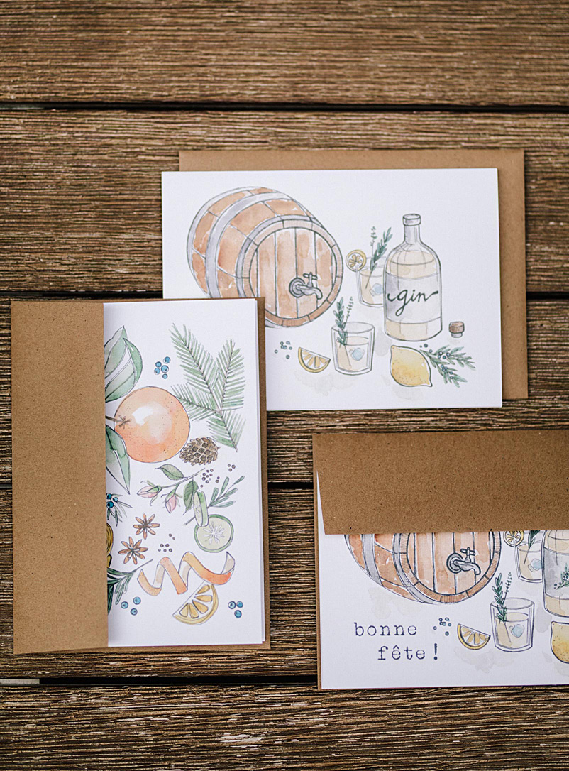 Ginius Assorted Artisanal-gin-lover greeting cards  Set of 6