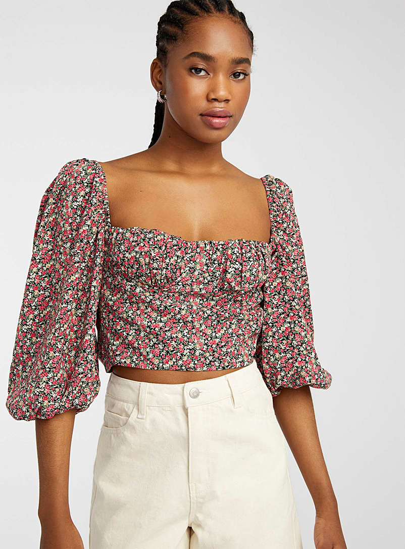 Twik Patterned Red Rose-print bustier blouse for women