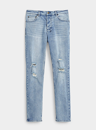 Distressed whiskered Clitch jean  Slim fit