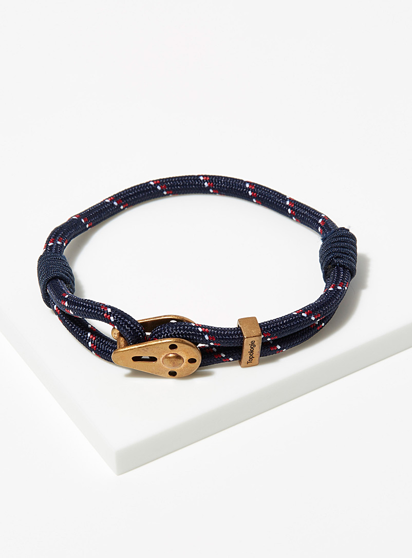 Topologie Patterned Blue Yosemite navy and raw brass bracelet for men