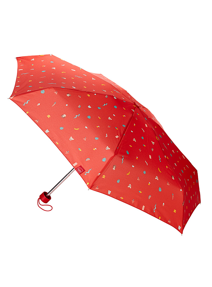 CLIMA bisetti Patterned Red Whimsical emojis umbrella for women