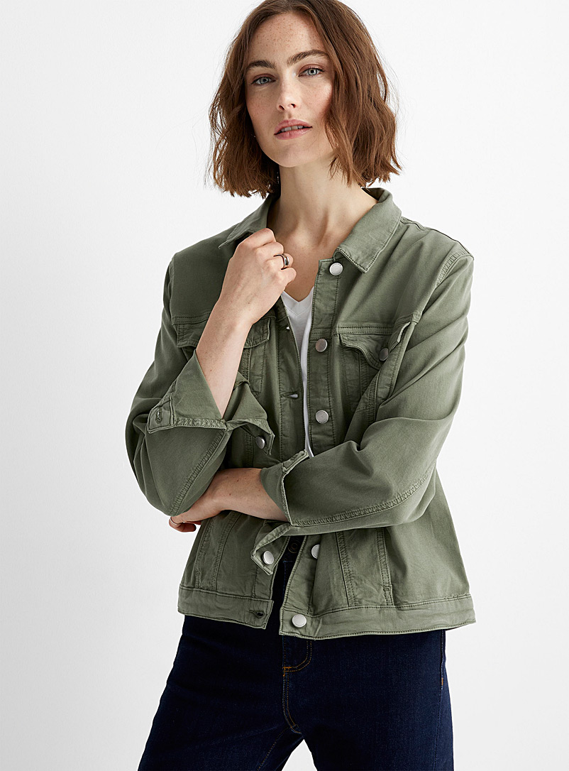 Contemporaine Lime Green Breathable twill jacket for women