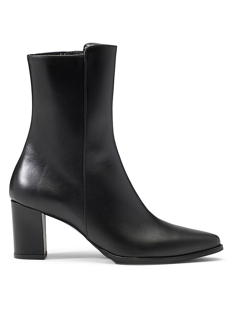 Teddy black leather heeled boots