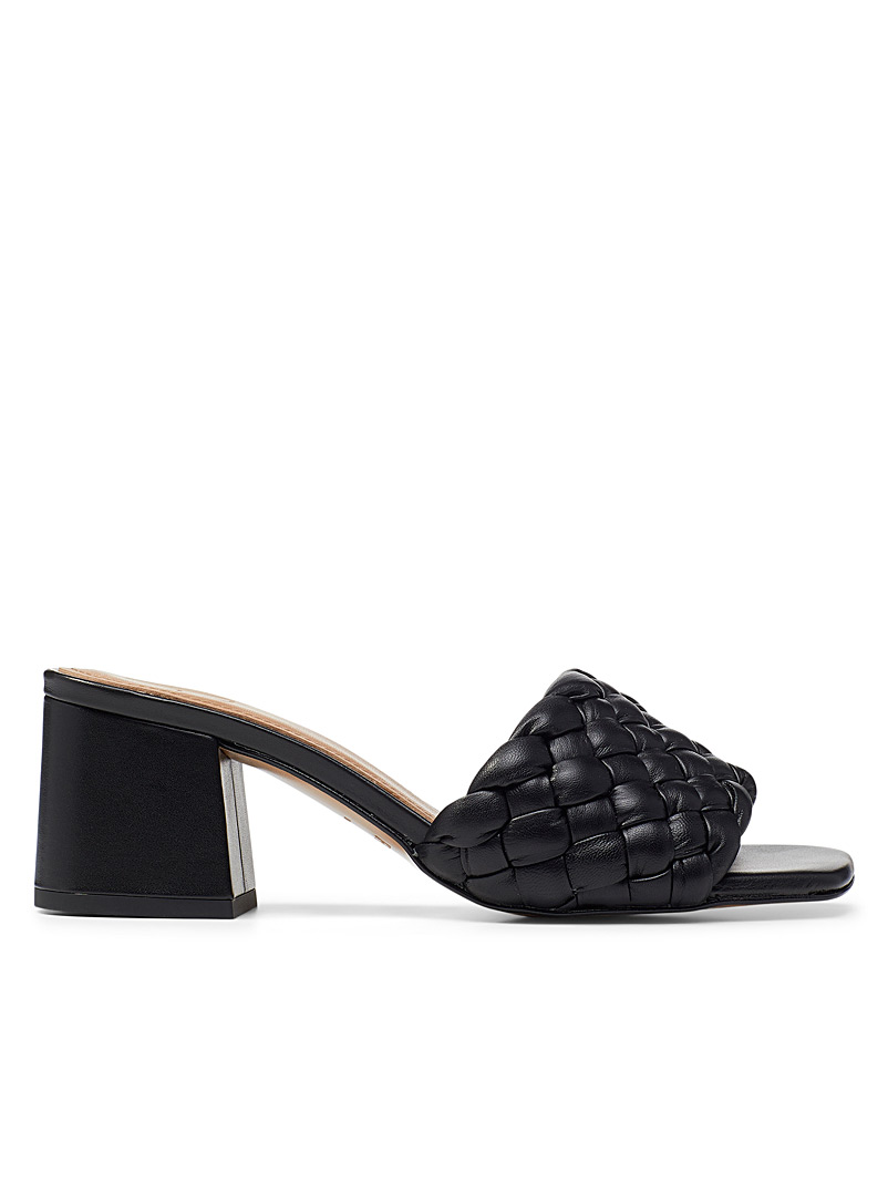 Flattered Black Odessa heeled sandals for women