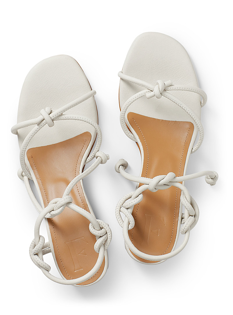 Flattered Ivory White Edith heeled sandals for women