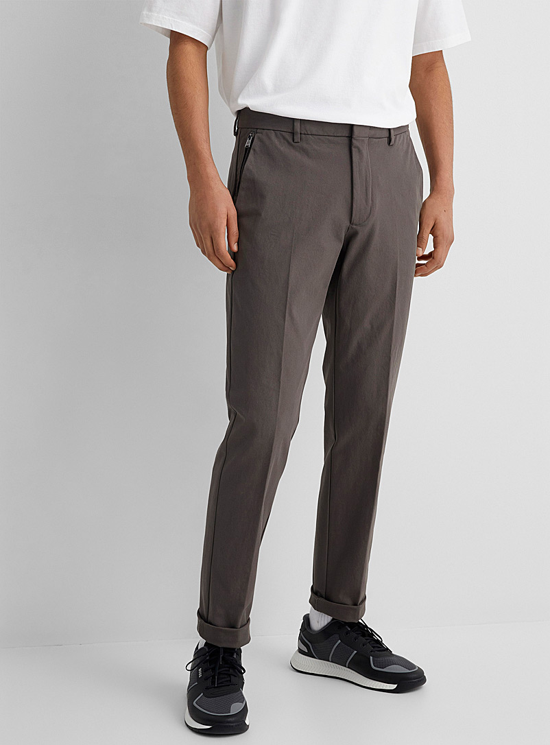 BOSS Cream Beige Kaito1-Travel2 stretch twill pant for men