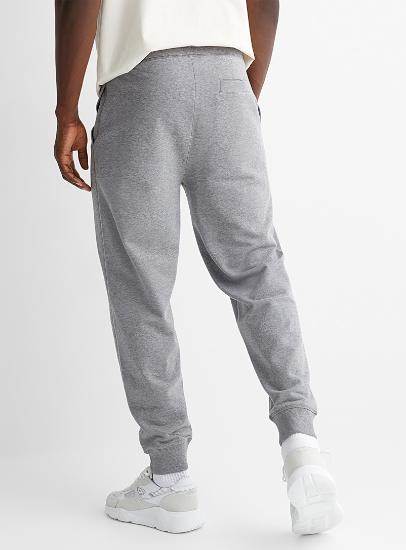 Boss x Russell Athletic Grey Logo emblem cotton joggers for men