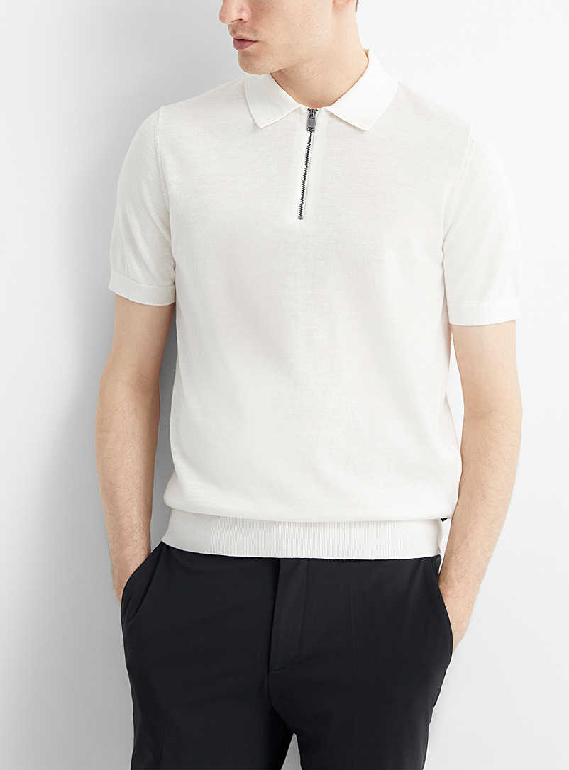 BOSS White Zip-neck polo for men