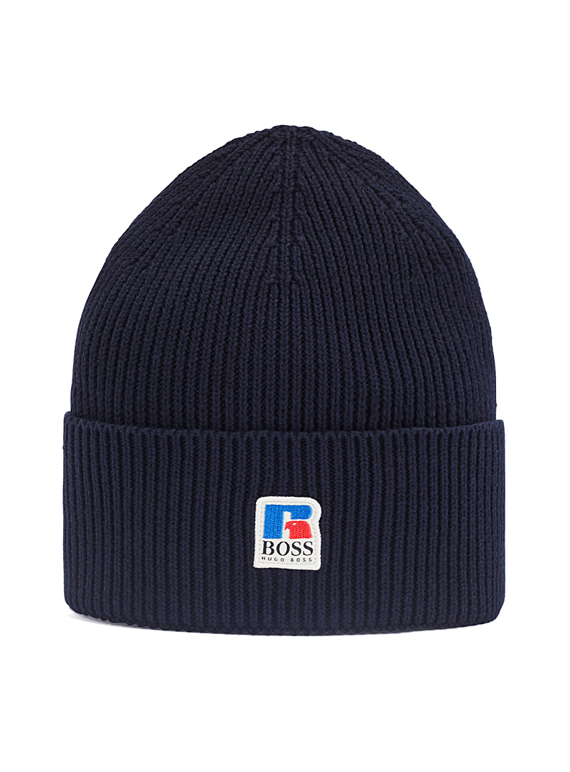 Boss x Russell Athletic Marine Blue BOSS x Russell Athletic ribbed tuque for men