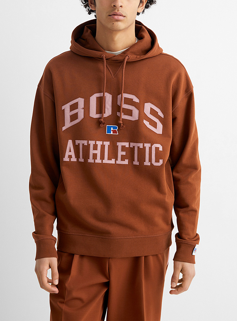 Boss x Russell Athletic Brown Ribbed-side logo hoodie for men