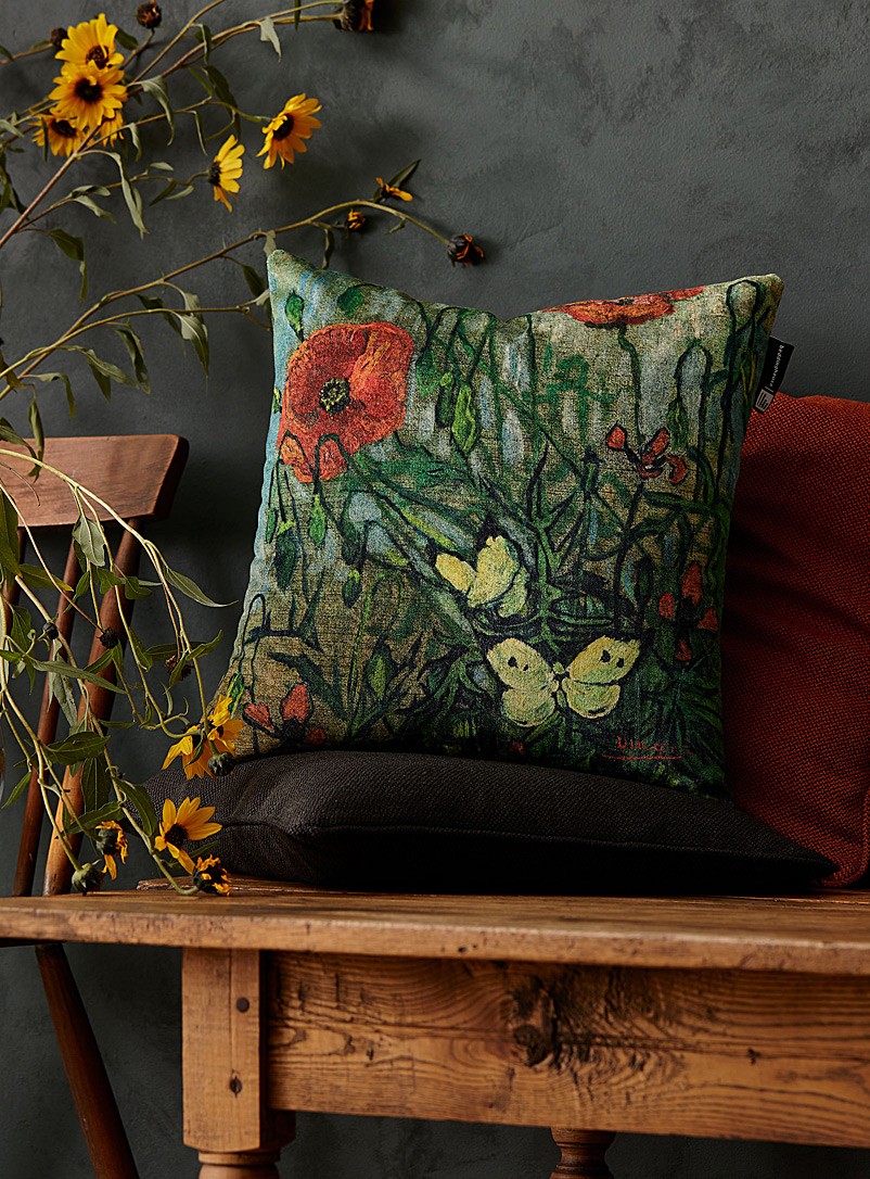 Beddinghouse Assorted Butterflies and Poppies cushion  45 x 45 cm