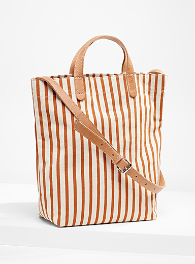 Leather accent stripe canvas tote