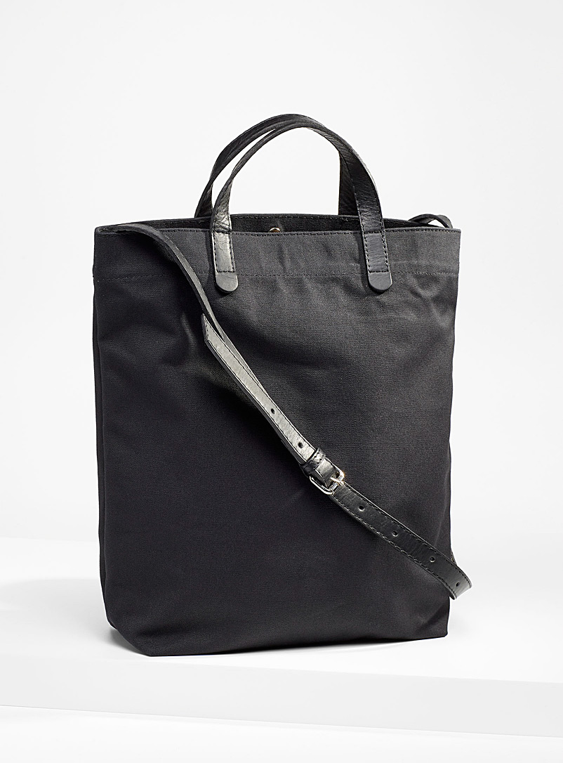 Le bas Black Leather accent solid canvas tote for women