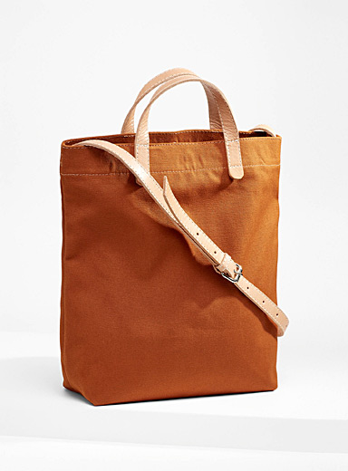 Leather accent solid canvas tote