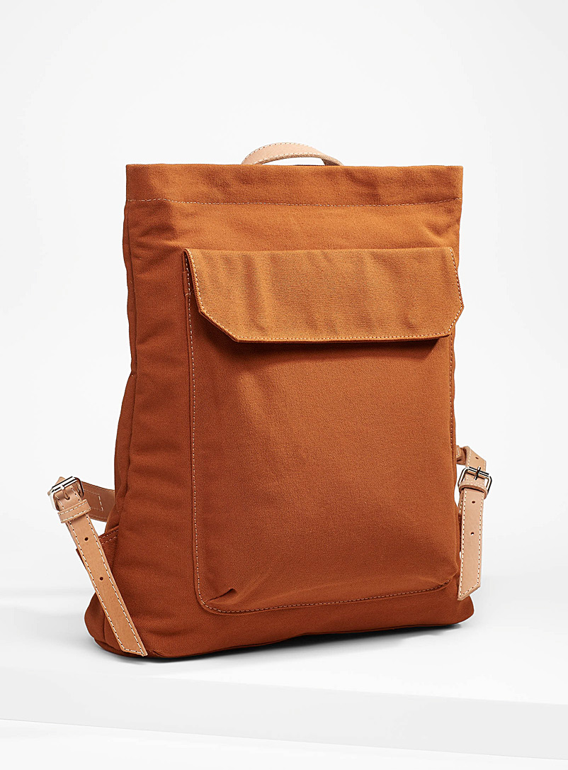 Le bas Brown Leather accent canvas backpack for women