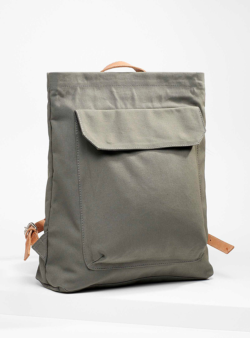 Le bas Mossy Green Leather accent canvas backpack for women