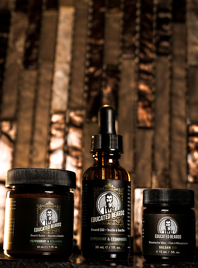 Educated Beards Peppermint Beard balm, wax and oil trio
