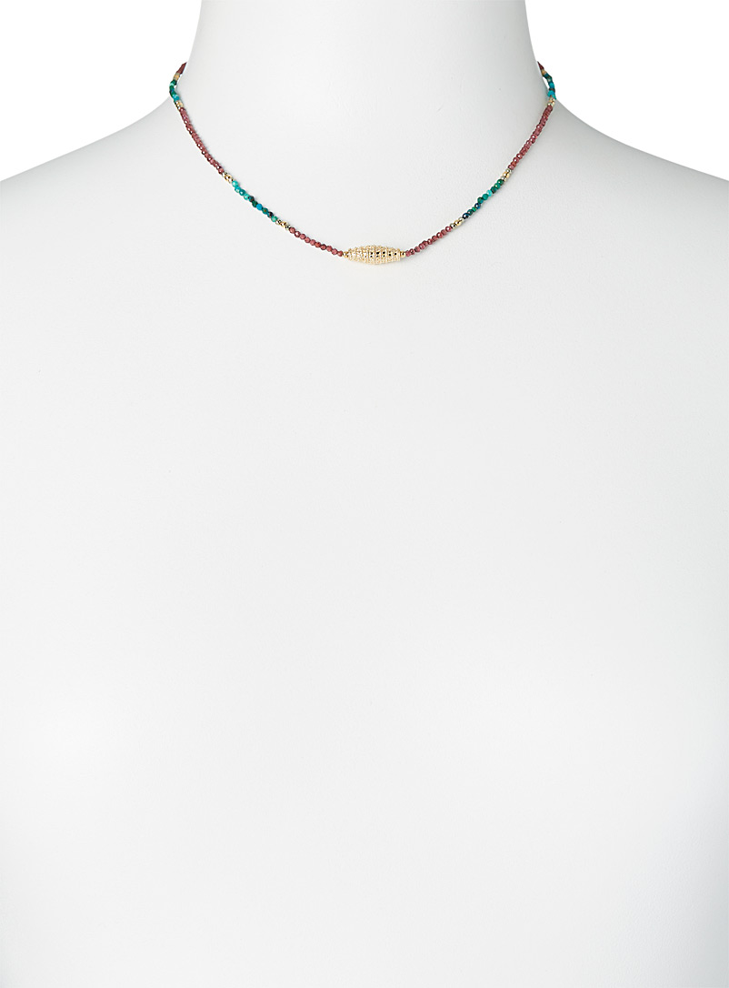 By Johanne Patterned Blue Massala textured tube necklace for women