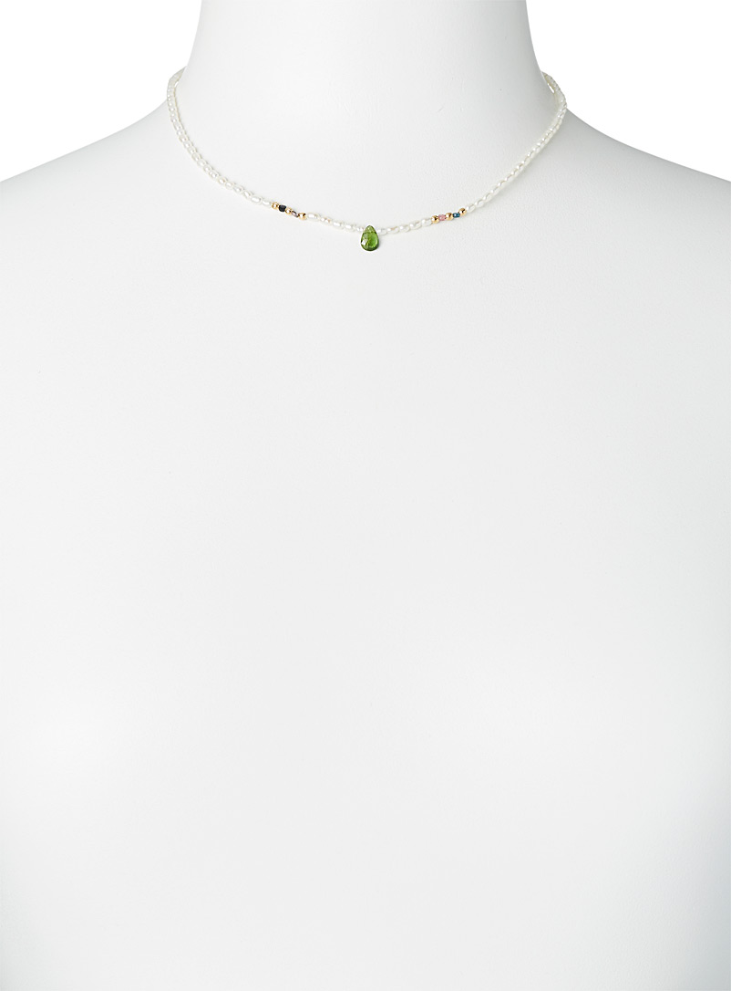 By Johanne Patterned White Green tourmaline necklace for women